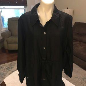Joan rivers drawstring waist boyfriend shirt